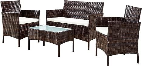 EBS Conjunto de Muebles Ratán de Jardin o Terraza 4 Piezas con Cojines Blancos - 1 Mesa de Café 1 Sofá Biplaza y 2 Sillas/Color Marrón