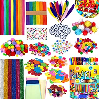 Arts and Crafts Supplies for Kids, Ouddy Assorted Craft Pipe Cleaners Kit for Toddlers, Arts and Crafts Kit for Kids Craft...