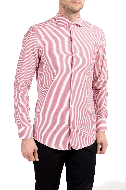 Hugo Boss Jason Men's Striped Slim Long Sleeve Dress Shirt Sz US 16 IT 41