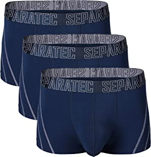 Separatec Men's 3 Pack Soft Bamboo Rayon Separate Pouches Trunks