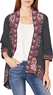 JWLA By Johnny Was Women's Cotton Knit Cardigan with Embroidery