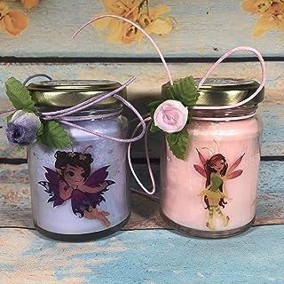 Fatine Fairies 2 vasetti con candele di cera di soia e oli essenziali - idea regalo per compleanno anniversario frasi d'am...
