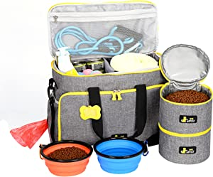 Dog Travel Bag - Airline Approved Travel Set for Dogs Stores All Your Dog Accessories - Water Resistant Travel Bag for Pets with 2X Food Storage Containers and 2X Collapsible Dog Bowls Gray