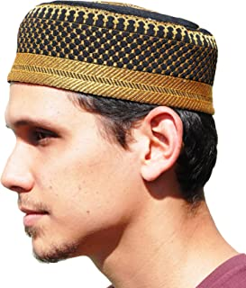Black Metallic Gold Embroidered Padded & Quilted Soft Kufi Hat Large Skull Cap 23-inch