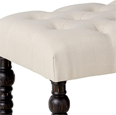 Roundhill Furniture Leviton Fabric Tufted Turned Leg Dining Bench, beige