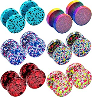 JewelrieShop Fake Plugs Faux Gauges Plugs Earring for Men Stainless Steel Studs Circle Flat Back Cheater Illusion Tunnel Dumbbell Earrings Ear Plugs Women(16G,6-12 Pieces,10mm)