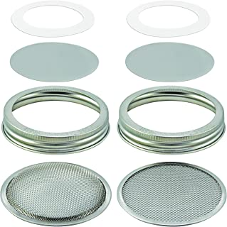 2 Sets: Stainless Steel Sprouting Lids + Storage Caps - 2 Sprouter Screens (Curved+Flat), 2 Inserts, 2 Bands, 2 Seals - For Wide Mouth Mason Jar. Airtight, Leak-proof. Rust-free, PVC-free, Vinyl-free
