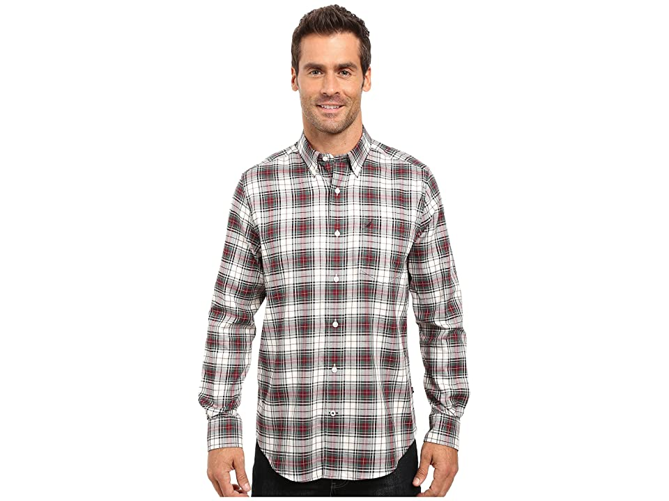 Nautica Long Sleeve Wrinkle Resistant Plaid Shirt (Lakeside Green) Men