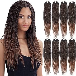 Eerya Senegalese Twist Crochet Hair 8 Packs 18 Inches Short Braids Small Havana Mambo Twist Crochet Braiding Hair Extensions Synthetic High Temperature Senegalese Twists Hairstyles (8 Packs, 1B/30#)