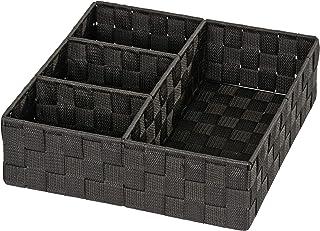 WENKO Organiseur de salle de bains Adria 4 compartiments, noir - 4 compartiments, Polypropylène, 32 x 10 x 32 cm, Noir
