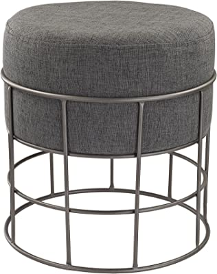 "Dimond Home Pewter and Grey Linen Stool, 17"" x 17"" x 18"""