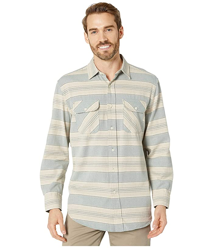 Beach Shack Shirt (Blue/Green/Tan Stripe) Men's Clothing
