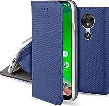 Moozy Funda para Motorola Moto G7 Play, Azul Oscura - Flip Cover Smart Magnética con Stand Plegable y Soporte de Silicona