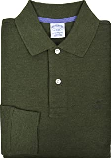 Brooks Brothers Mens Slim Fit 142661 Cotton Long Sleeve Performance Polo Shirt Olive Green