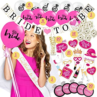Bachelorette Party Decorations KIT | Bridal Shower Set | Bride to be Sash, Veil/Comb, Banner, Balloons, Photo Booth Props, Tattoos, Drinking Game, Straws | 96 Party Supplies Accessories