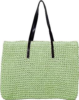 Uloveido Big Beige Straw Woven Shoulder Crossbody Bags for Women with PU Handle BG010