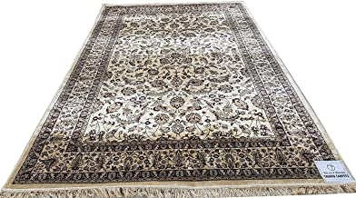 TAUHID CARPET Traditiona Kashmiri Silk Persian Design Carpet for Your Living Room and Bed Room (60x180cm) 2 Feet by 6 Feet Color Ivory.