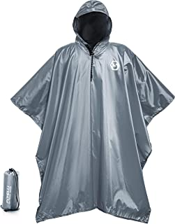 Foxelli Hooded Rain Poncho – Waterproof Emergency Military Raincoat for Adult Men & Women – Lightweight, Multi-Use, Reusable Rain Gear for Hiking, Camping, Fishing, Festivals