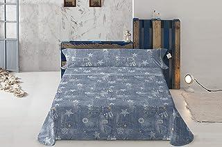 Lois Sábanas Tejano Cama de 150 cm (150_x_200_cm), Azul