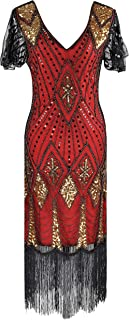 Women's Flapper Dresses 1920s Beaded Fringed Great Gatsby Dress with Sleeves