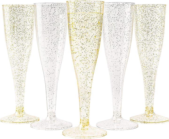 120 pezzi flute da champagne in plastica trasparente con glitter dorati e argento,  150ml riutilizzabili S0858