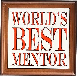 "3dRose ft_193637_1 Worlds Best Mentor Red Framed Tile, 8 by 8"""