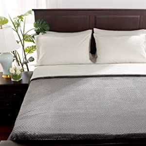 Berkshire Blanket VelvetLoft Blanket | Honeycomb Sherpa Reversible Plush Blanket | Ultra Soft Cozy Bed Blanket | Heavyweight Warmth | Smoke | King (90