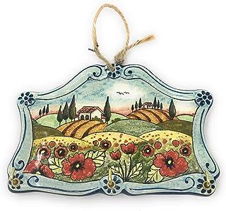 CERAMICHE D'ARTE PARRINI- Ceramica italiana artistica, portachiavi o appendi asciughino, decorazione paesaggio papaveri, d...