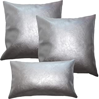 Faux Leather Pillow Cover Set - Silver Leather Pillow Covers 18x18, 12x20 Leather Lumbar Pillow - Accent Home Decor - Luxury Modern Boho, Farmhouse Room Decor - Bedroom, Couch, Living Room, Sofa, Bed