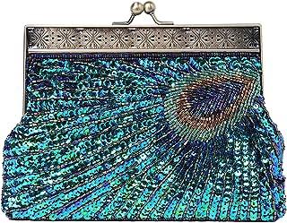 BABEYOND 1920s Flapper طاووس کلاچ گتسبی کیف دستی منجمد کیف مجلسی مجلسی