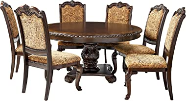 Furniture of America Ferrara 7-Piece Elegant Round Dining Table Set, Brown Cherry