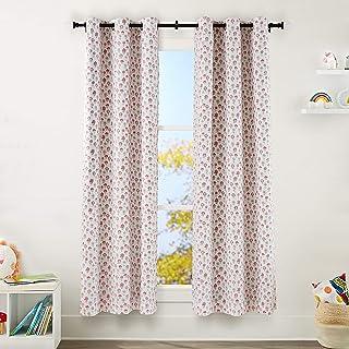 "Amazon Basics Kids Room Darkening Blackout Window Curtain Set with Grommets - 42"" x 84"", Pink Flowers"