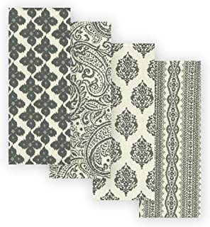 Elrene Home Fashions Everyday Casual Prints Assorted Cotton Fabric Kitchen Towels, Set of 4, 17