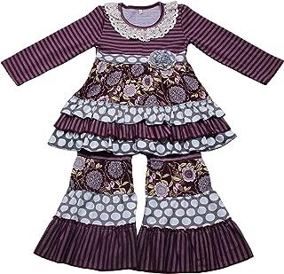 Yawoo Haan Children Girls Ruffle Dress Pants Set 2pcs Boutique Outfits Clothing