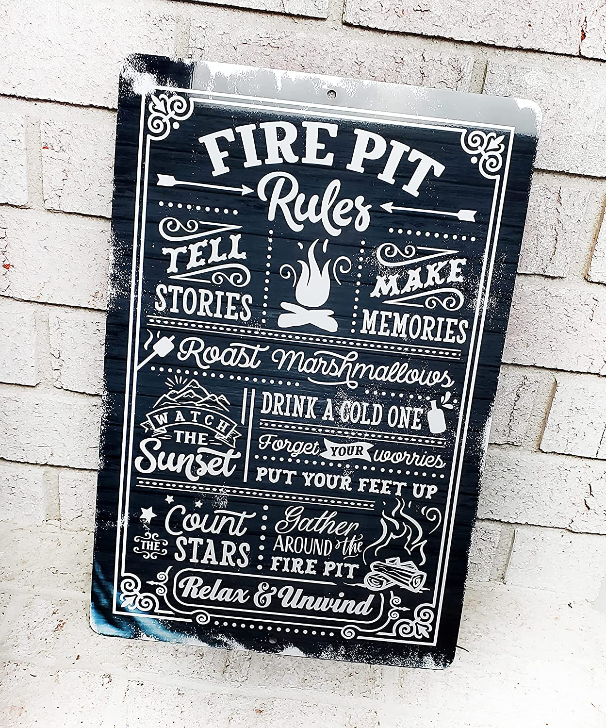 Los Angeles Mall Fire Pit Signs Metal Our shop OFFers the best service D Outdoor Yard