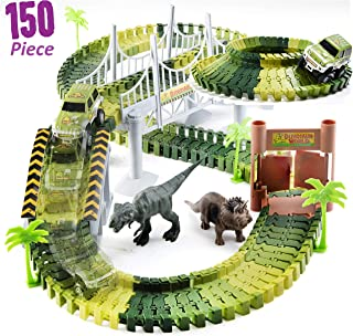 Prextex Dinosaur Toys Safari Dinosaur Track Set Easy to Assemble with Dinosaurs and Trees Included
