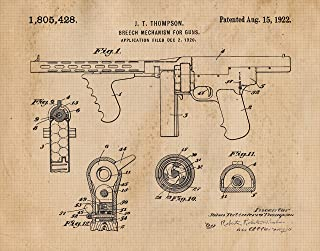 Original Tommy Gun Rifle Patent Poster Prints, Set of 1 (11x14) Unframed Photo, Great Wall Art Decor Gifts Under 15 for Home, Office, Garage, Man Cave, Shop, College Student, Teacher, NRA & Movies Fan