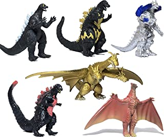 EZFun Set of 6 Godzilla Toys Movable Joint Birthday Kids 2019 Action Figures King of the Monsters Burning Heisei Mecha Ghidorah Pack Plastic Mini Dinosaur Playsets Cake Toppers Realistic Vintage