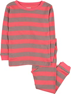 Leveret Striped Kids & Toddler Girls Pajamas 2 Piece Pjs Set 100% Cotton Sleepwear (Toddler-14 Years)