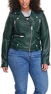 Women's Faux Leather Contemporary Asymmetrical Motorcycle Jacket (Standard & Plus Sizes)