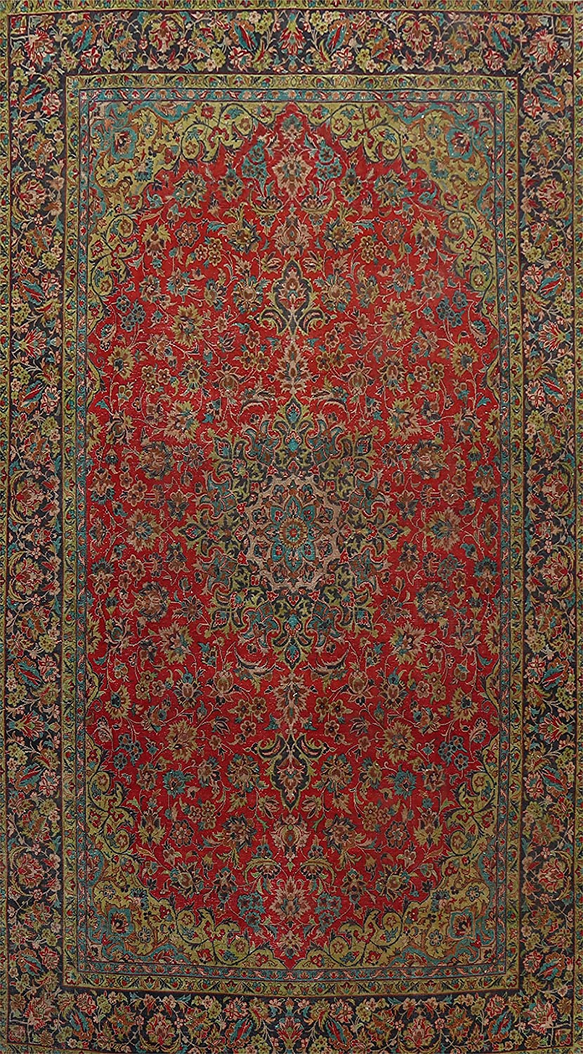 Vintage Red Traditional Floral Kashaan Hand-Kn Rug Now free shipping 5 ☆ popular Area Oriental
