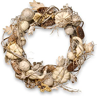 National Tree 20 Inch White Tipped Pinecone Wreath with Gourds, Berries and Ball Ornaments (RAHV-W060669A)