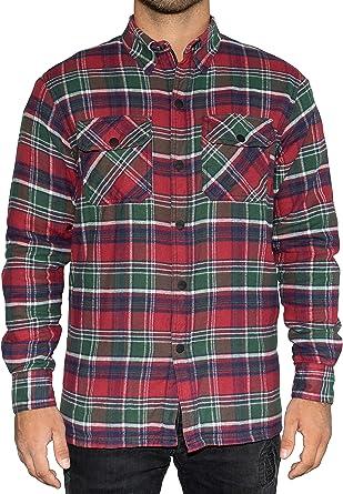BRUBAKER Camisa de protección para Moto - Forro Interior Aramida y Bolsillos para Protectores - Estilo Lumberjack - Cuadros Escoceses Verde-Rojo