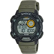 6a01c20ba622 Timex Men s T49975 Expedition Base Shock Black Green Resin Watch
