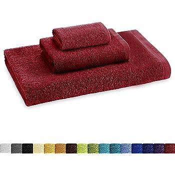 Eiffel Textile Juego de Toallas Calidad Rizo 400 gr, Algodón Egipcio 100%, Granate, Tocador Lavabo y Sabana, 3 Unidades: Amazon.es: Hogar