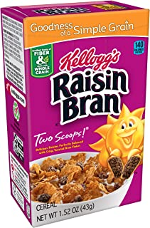 Kellogg's Raisin Bran 早餐谷物食品 原味 优良的纤维来源 单份装 1.52 盎司(约 43 克)盒装(70 盒)