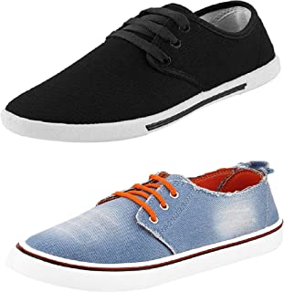 Chevit Men's Combo Pack of 2 Blue and Black Denim Sneakers (Casual Shoes)