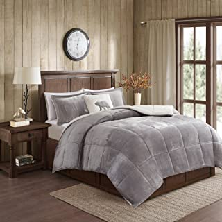 Woolrich Alton Ultra Soft Plush to Sherpa Berber Down Alternative Cold Weather Winter Warm Comforter Set Bedding, Twin, Grey/Ivory