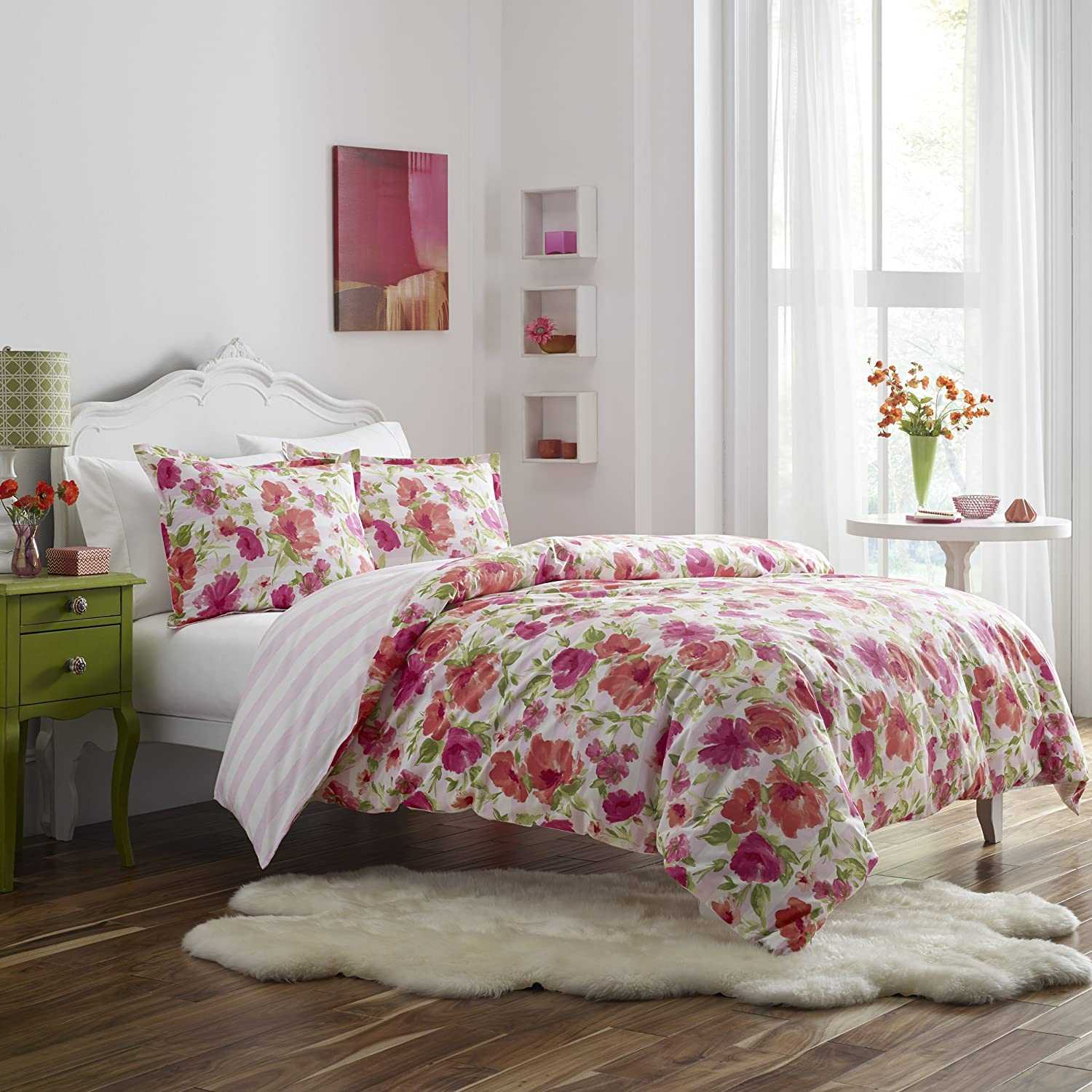 Poppy & Fritz Floral Buffy Comforter Sham Set, Twin, Pink