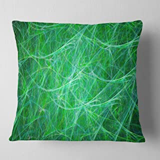 Designart Mystic Green Fractal Veins' Abstract Throw Cushion Pillow Cover for Living Room, Sofa 18 in. x 18 in